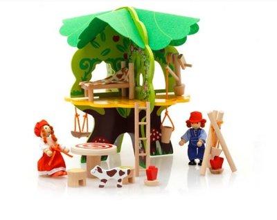 【晴晴百寶盒】DIY木製樹屋別墅 益智遊戲 寶寶过家家玩具 角色扮演 親子互動 生日禮物 平價促銷 P110