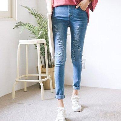 韓國鉛筆褲窄管褲 時尚質感抓破牛仔褲 艾爾莎【TG300121】