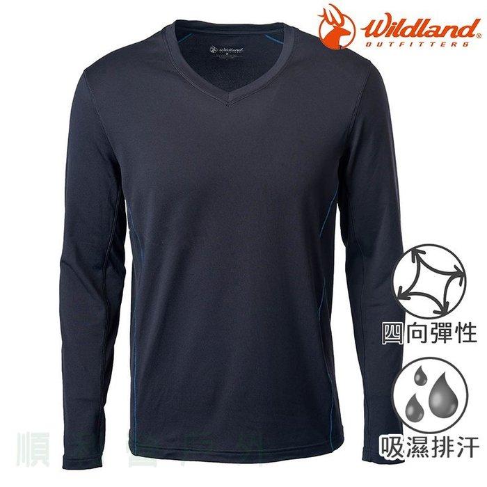 荒野WILDLAND 男款彈性輕量V領保暖上衣 0A62636 黑色 排汗衣 內衣 衛生衣 OUTDOOR NICE