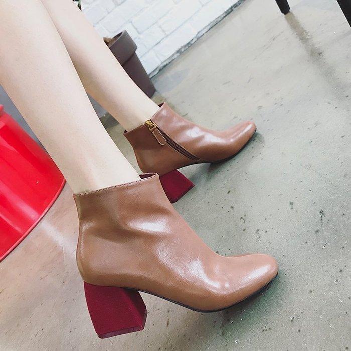 Copy&Paste【免運優惠】超美撞色紅跟設計~韓國訂單好質感英倫歐美高跟鞋踝靴粗方跟短靴三色 34~38 (預購)