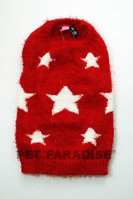 Pet Paradise P.B.E 白星星紅毛衣 DS 臘腸犬/貓用寵物毛衣