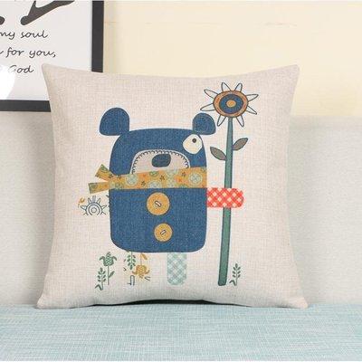 卡通可愛抱枕棉麻沙發客廳靠墊靠枕汽車床頭辦公室椅子腰枕大靠背