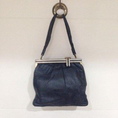 巴黎古著二手店購入的深藍羊皮手提包~英國老奶奶 vintage老包 古董包