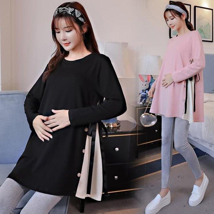 孕婦秋冬裝時尚新款孕婦裝上衣秋季長袖t恤中長款寬鬆孕婦裙