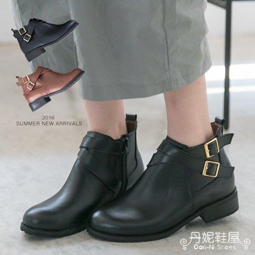 短靴 街頭感十足 帥氣交叉環鞋釦 全真皮機車靴 短靴 馬靴 MIT台灣手工鞋 丹妮鞋屋