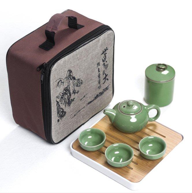 樂佳 哥窯陶瓷茶具套裝便攜式快客杯一壺4杯配旅行包