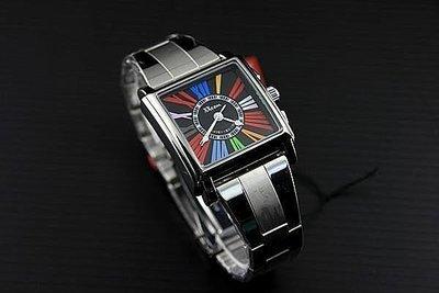 168錶帶配件 /xxcom法蘭克木樂款造型七彩羅馬數字不鏽鋼製錶帶石英錶黑面日本miyota 2035石英機心