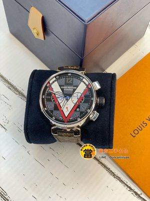 《當肯二手名品》LV 新款 機械 手錶 TAMBOUR DAMIER COBALT CHRONOGRAPH 46 ㊣