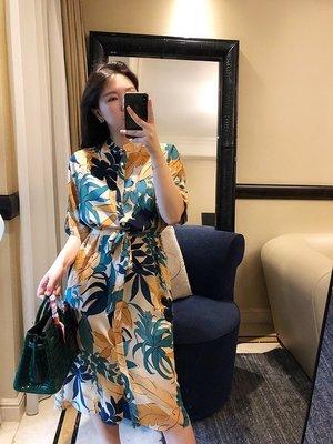 《巴黎拜金女》16姆米雙縐真絲麵料舒適耐看黃綠調印花真絲連衣裙