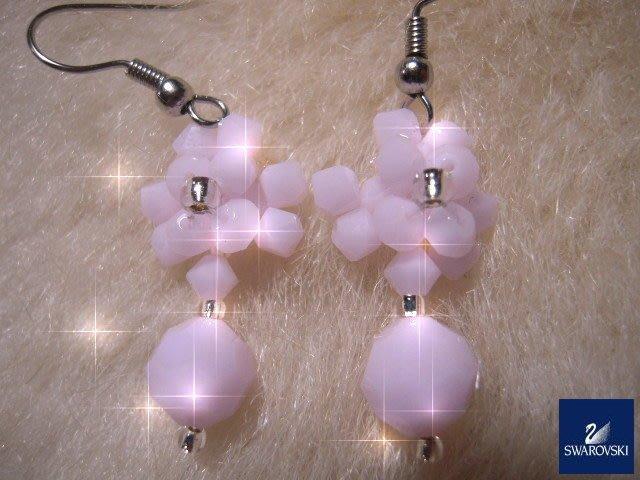 ※水晶玫瑰※ SWAROVSKI 地球珠水晶 耳勾式耳環(DD431)