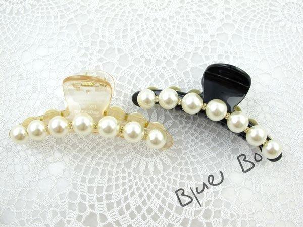 ~*BlueBo*~Korea 韓國飾品 氣質排鑽大珍珠 (超大 )鯊魚夾/抓夾/盤髮夾~12cm