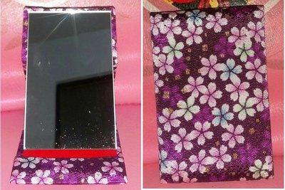 龍廬-自藏出清~和風櫻花立鏡 可收納 日系 紫色櫻花圖案 隨身小鏡/化妝鏡/隨身鏡~~只有一個