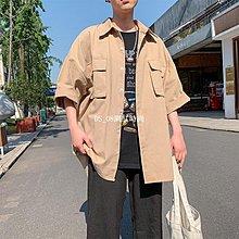 DS_08網紅時尚2019夏季新款BF風寬松休閒半袖襯衣男士純色短袖襯衫ins潮流潮牌