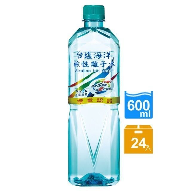 台鹽 台塩海洋鹼性離子水 1箱600mlX24瓶 特價350元 每瓶平均單價14.58元