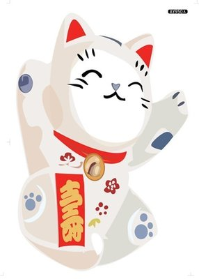 八號倉庫  壁貼  兒童房 店面 佈置 卡通 DIY 牆貼 組合貼 壽 招財貓 裝飾貼【AY950A-08】