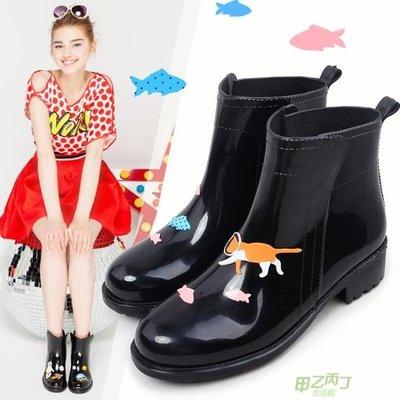 雨鞋 雨趣時尚手繪風低筒短筒雨靴水靴水鞋防滑膠鞋成人保暖雨鞋女  快速出貨