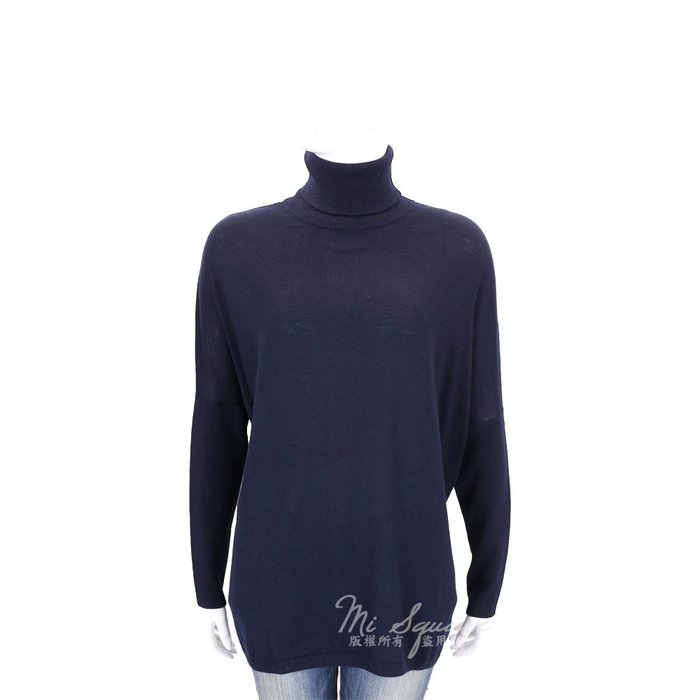 米蘭廣場 ALLUDE 深藍色直紋拼接高領羊毛針織上衣(100%WOOL) 1710090-34