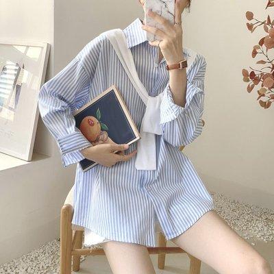Maisobo 韓 秋冬 初秋配披肩條紋長袖襯衫 3色 TO2-461 預購