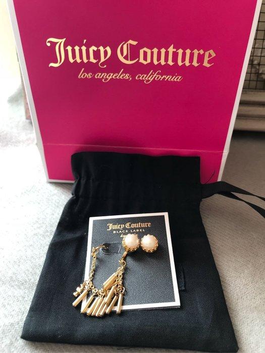 全新 JUICY COUTURE 珍珠造型耳環 黃k金色 附耳鈎 耳鉤 附防塵袋 台灣專櫃貨