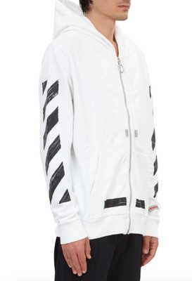 OFF-WHITE Diag Brushed Zip Up Cotton Hoodie