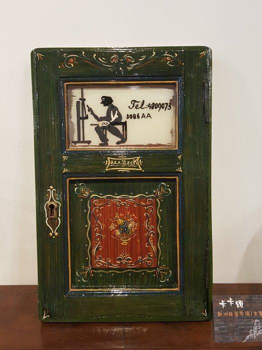 【卡卡頌 歐洲跳蚤市場/歐洲古董】歐洲老件_德國 畫家細緻手繪木門板 裝飾壁掛 w0100✬