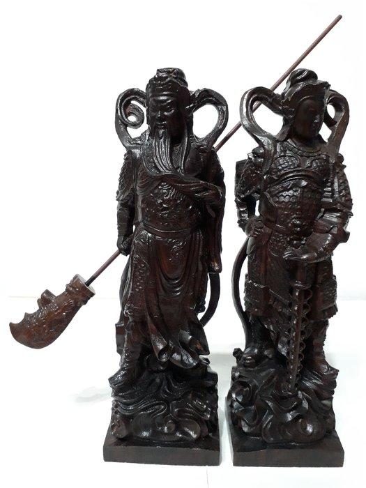 【九龍藝品】沉木雕 ~ 關公韋陀菩薩+伽藍菩薩 ~ 1對.高約22和22公分 (2)
