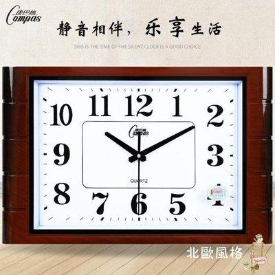 客廳靜音掛鐘臥室辦公藝術石英鐘現代簡約方形時尚壁時鐘表BOFG17972