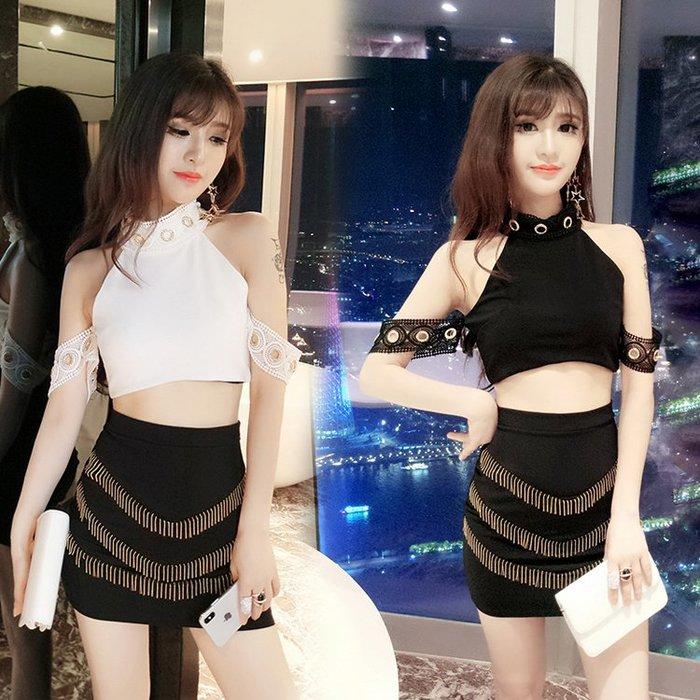 性感 洋裝 連身裙 潮 流行 時尚百搭 歐美 夏裝時尚性感掛脖式短款無袖上衣+包臀短裙半身裙套裝
