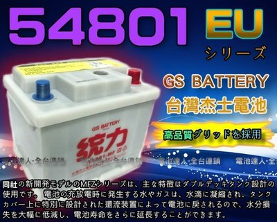 【電池達人】杰士 GS 統力 汽車電池 54801 福特 FIESTA FOCUS VITARA 鈴木SX4 SKODA