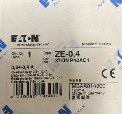 ETN Eaton Moeller. 過載電驛 ZE-0.4.  0.24-0.4A.  Thermal Overload Relay
