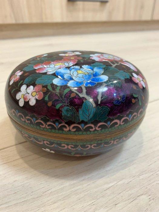 [輕·古物]掐絲琺瑯花卉大圓盒珠寶盒首飾盒飾品盒C9903 難得大型圓盒保存完整珍稀少見