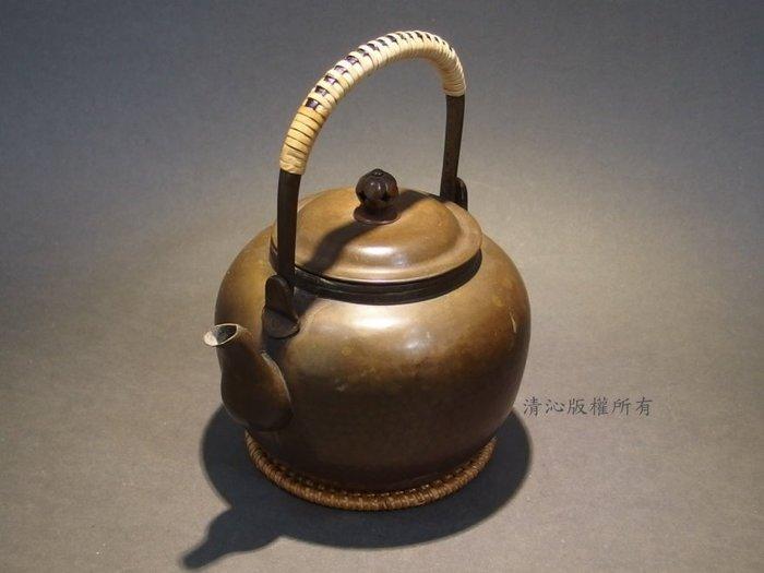 ☆清沁苑☆日本茶道具~在銘 宣德色 丸型 提把急須 銅壺 銅湯沸~c600