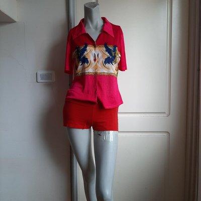 【Bjs啵古着】80年代90年代鑽飾老鷹圖案紅粉雙色短袖絲紗襯衫