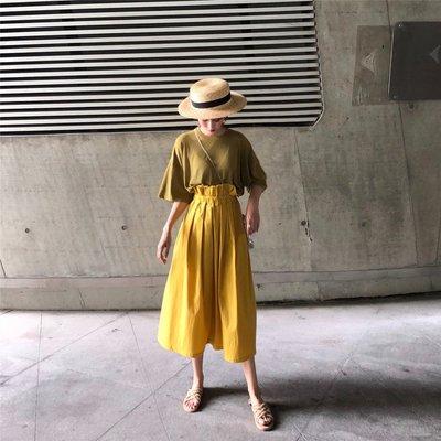 夏季 減齡百搭純色短袖T恤 花苞高腰中長款半身裙套裝