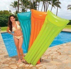 美國 INTEX59703 夏日玩水必備 成人水上浮排床沙灘休閒躺椅熒光伐 輕巧型日光浴浮排 183cm*69cm