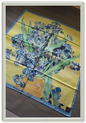 VINI 外真絲斜紋噴繪大方巾  梵高博物館 鳶尾花DF-108