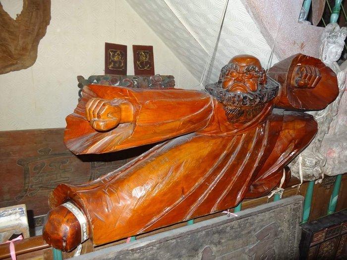 【御寶閣Viboger】古董 文物 藝品 字畫 化石~台灣檜木 大尊 達摩祖師 老檜木 木雕 佛像 太極