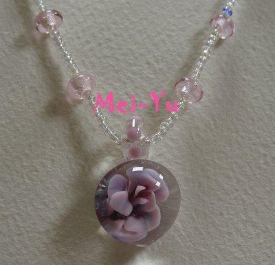 豬豬姨~Auntie Piggy~玫瑰~粉紅玫瑰~粉紅玫瑰玻璃項鍊~很特別玻璃花項鍊~