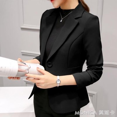 秋裝新款chic職業百搭西服長袖韓版修身顯瘦小西裝外套女短款