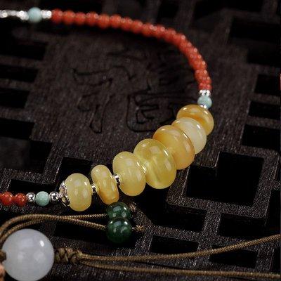 仙記銀坊原創S925純銀鑲嵌天然蜜蠟琥珀南紅復古個性高檔女士銀手鍊手串