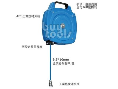 BuyTools-Air Hose Reel《專業級》自動伸縮風管捲揚器,迷你型風管輪座,6.5*10mm*8M「含稅」