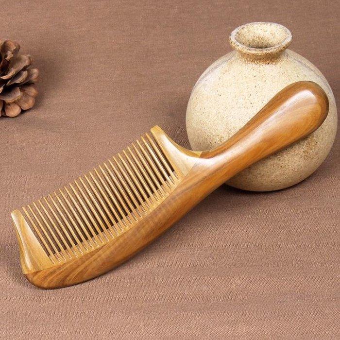 梳子玉檀香木梳防靜電刻字大齒家用
