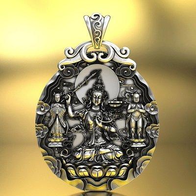【睿智精品】990銀飾 神像 佛像 文殊師利菩薩吊墜 十二生肖屬(兔)本命佛(GA-4829)