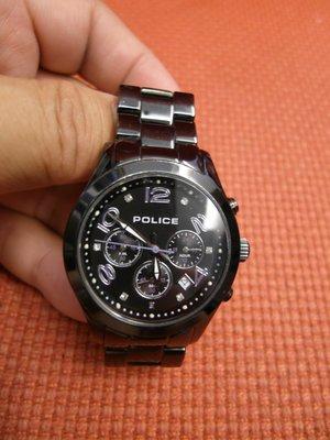 美國POLICE 黑色不鏽鋼運動女錶