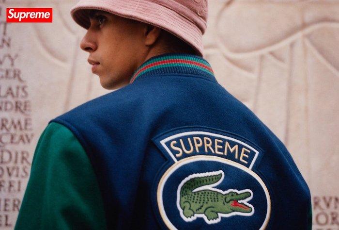 【超搶手】全新正品 2018 聯名 Supreme x Lacoste Wool Varsity Jacket棒球外套S