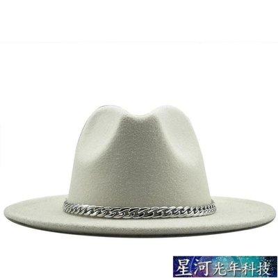紳士帽 Unisex Wide Brim Felt Hats Men Women Panama Trilby Hat爵士帽 星河光年