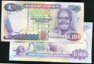 【紙幣】Zambia (尚比亞), P34 ,100 Kwacha ,ND(1991) , 品相全新UNC