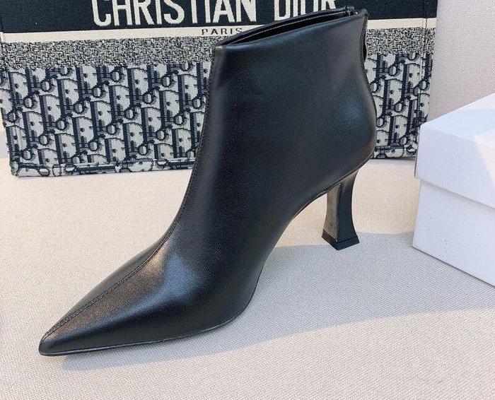 琳家2020秋冬真皮尖頭高跟短靴女 時尚性感氣質酒杯跟裸靴馬丁靴