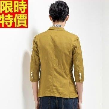 亞麻西裝 西裝外套-時尚有型休閒薄款流行男西服68q42[獨家進口][米蘭精品]