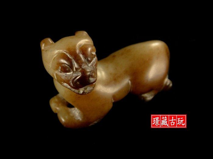 ﹣﹦≡|璟藏古玩|明清件-和闐玉褐沁瑞狩立體雕∥(直購價,不設底價,只給第一標)∥≡﹦﹣
